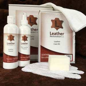 Leather Restoration Co's large boxed total leather care kit contains 500 ml bottles of leather cleaner, and leather protector,  leather cleaning glove, micro-fibre cloth and foam applicator. Can be used on finished or unfinished leather depending on application.