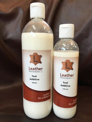 Feel  Additive  While the Matt and Gloss Topcoats have feel agent already added to them, you can add  Feel Agent directly to LR Leather Colour by 2-5%, or another 1-2% to the topcoats to produce an even silkier feel to the finish. Adding an additional 1-2 % to your topcoat helps in areas where leather comes into contact with itself (such as in folds or where a base and back cushion meet) during curing times over a 2-3 week period after refinishing.