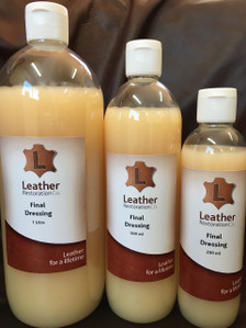 Similar to waxing a car, Leather Restoration Co's final dressing is applied as a last step in the restoration process. This dressing leaves the leather feeling silky smooth with a satin sheen and pleasant leather fragrance.