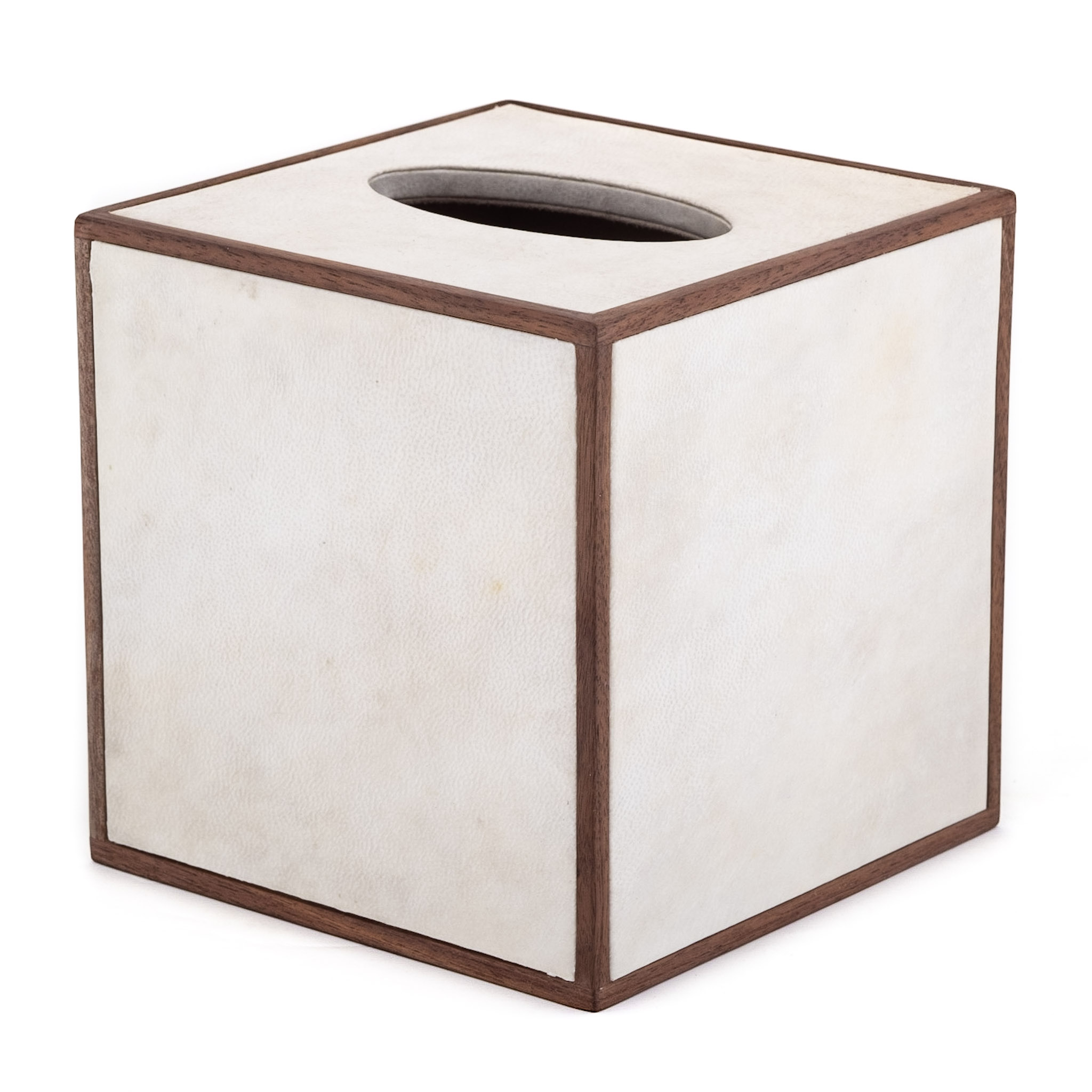 Square Tissue Box Cover Holder Ivory Leather Wood