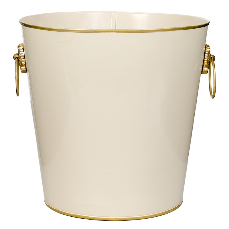 Luxury Waste Paper Bin metal Ivory Gold with Brass Handles