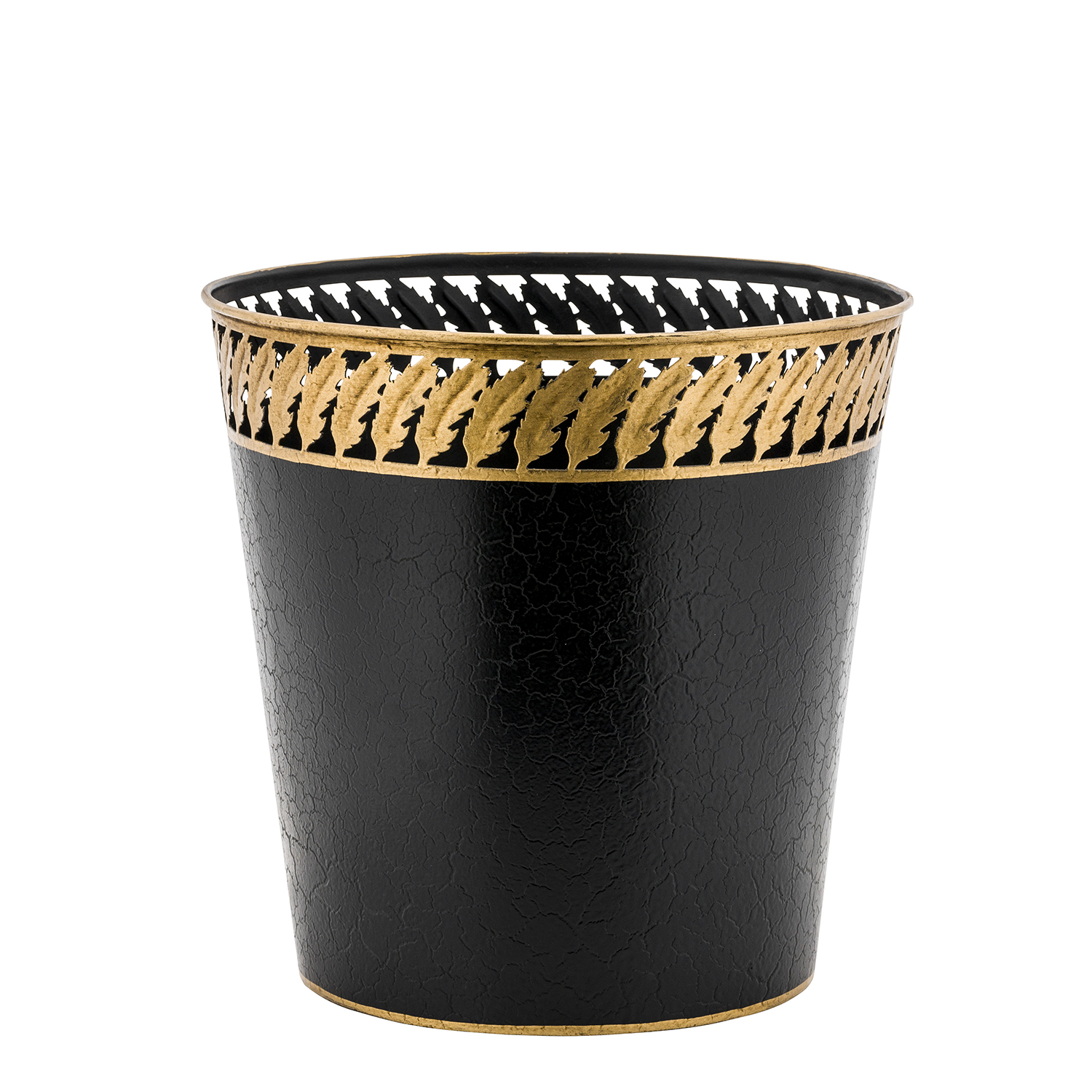 Elegant Black and Gold Waste Paper Bin Basket
