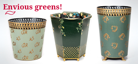 Decorative Painted Green Waste Paper Bins Baskets Painted