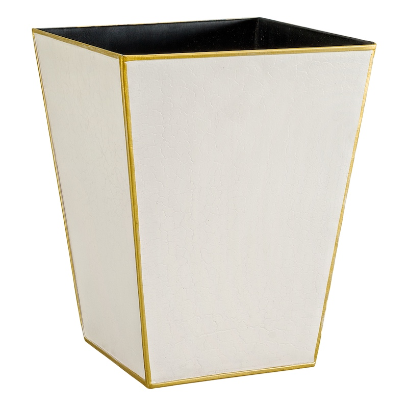 Elegant Quality Waste Paper Bin Ivory and Gold