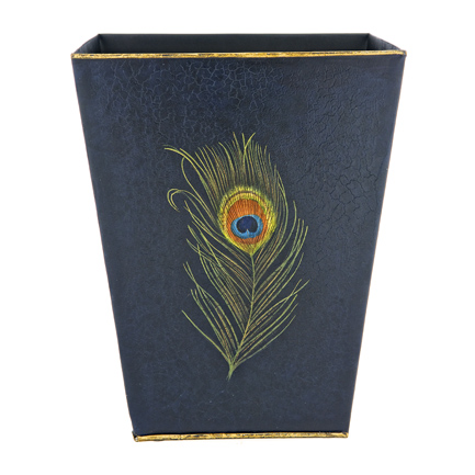Peacock Feather Waste Paper Bin / Basket Metal