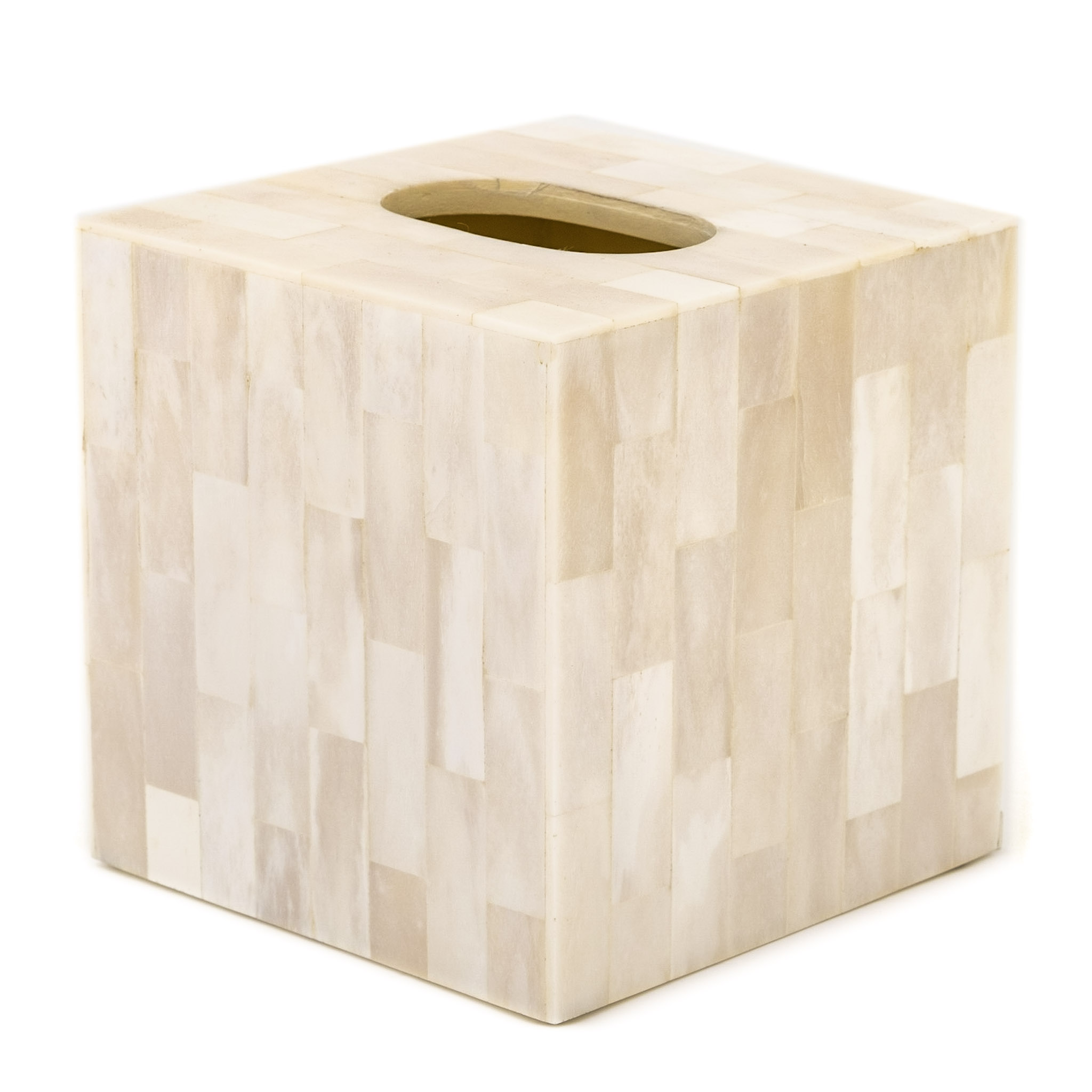 Square Tissue Box Cover Holder Bone Inlay Ivory