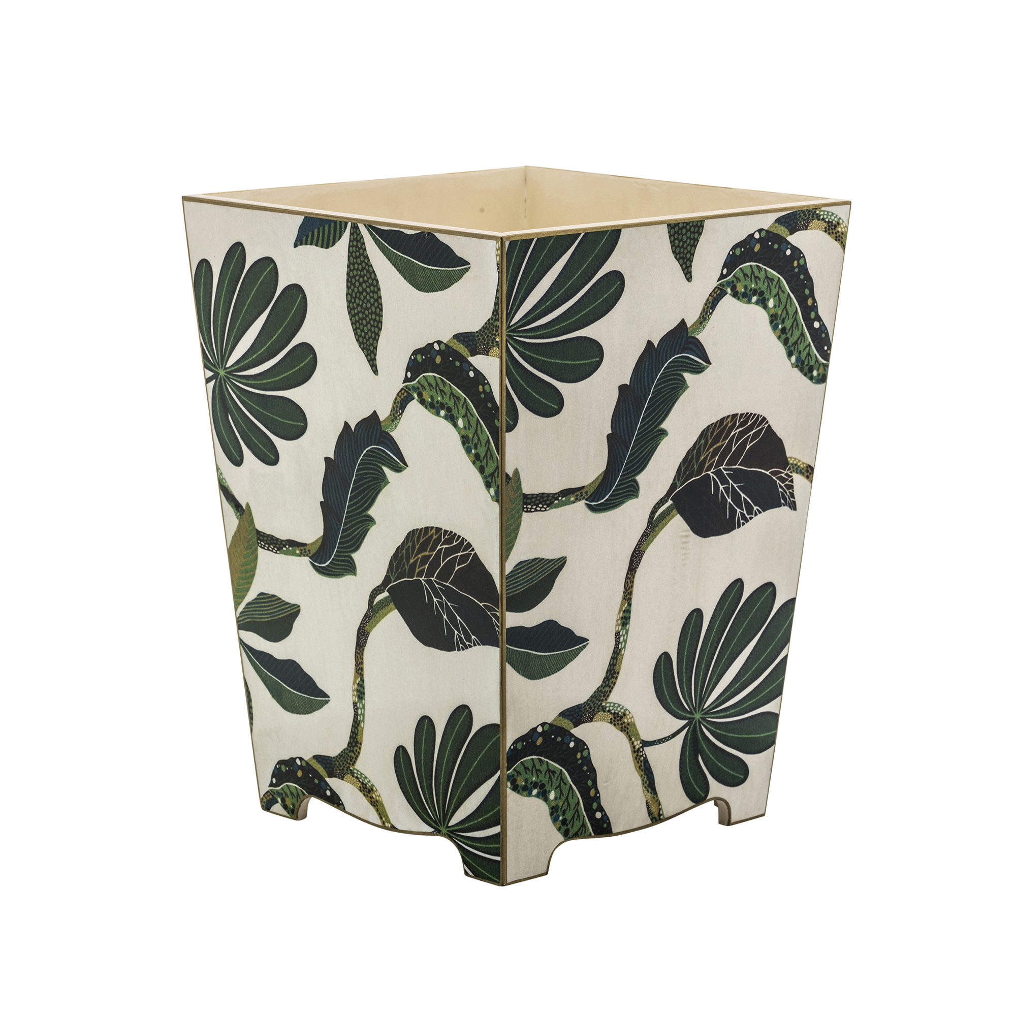 Green Leaf Wood Waste Paper Bin Basket