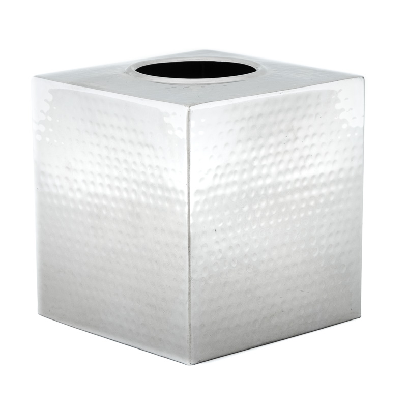 Square Tissue Box Cover Holder Steel Chrome Etching