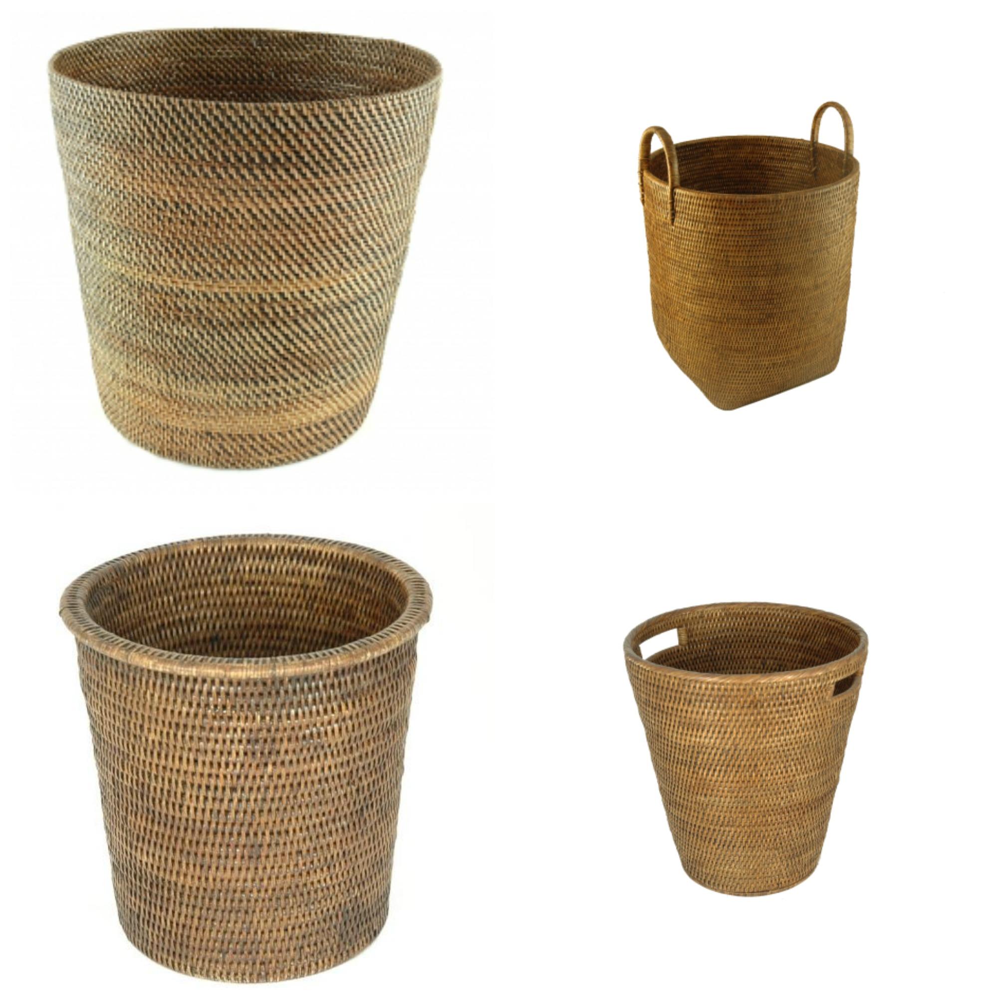 Dark Rattan Waste Paper Bins Baskets Natural Material