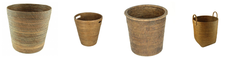 Rattan Waste Paper Bins Baskets Trash