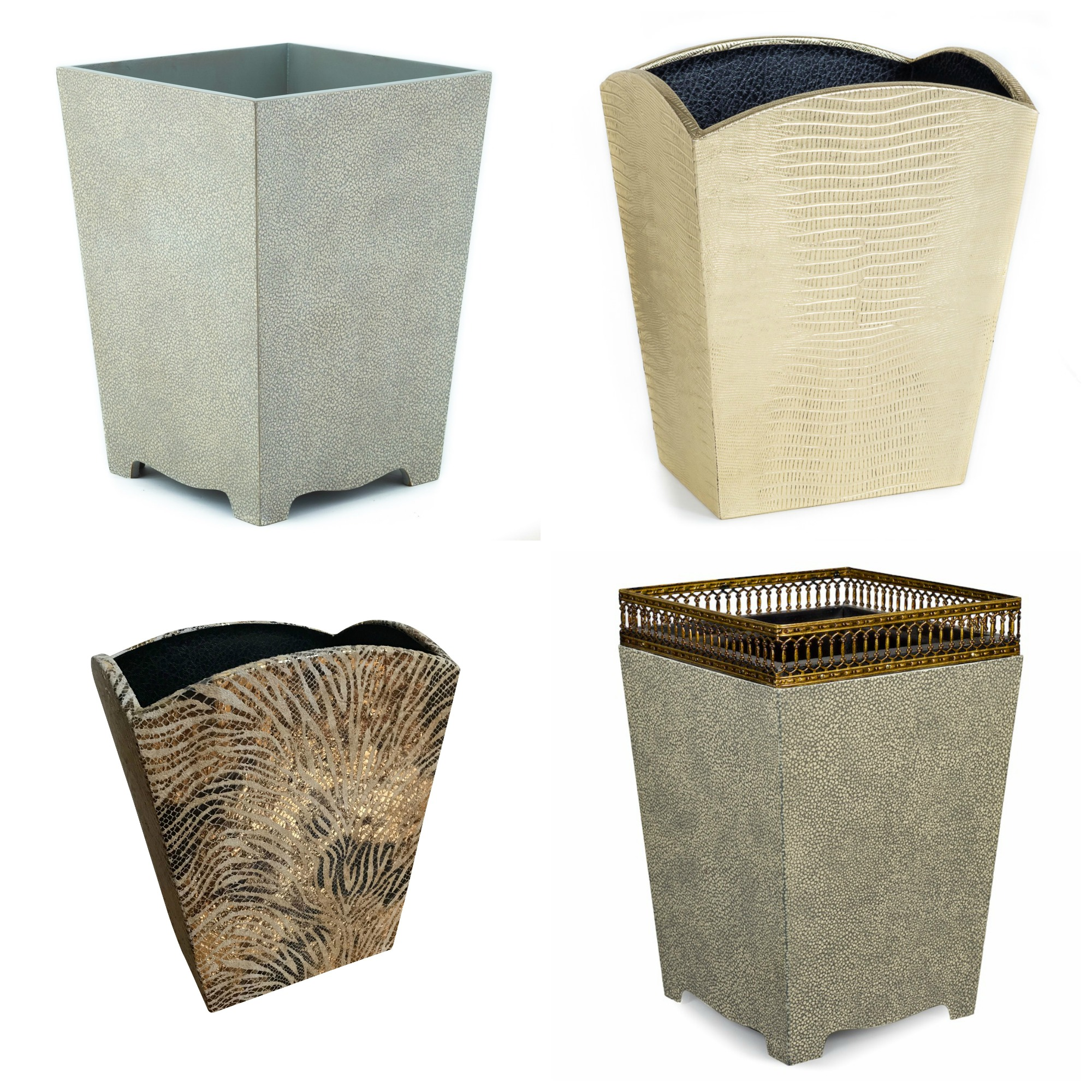 Shagreen Embossed Croc Leather Texture Waste Paper Bin