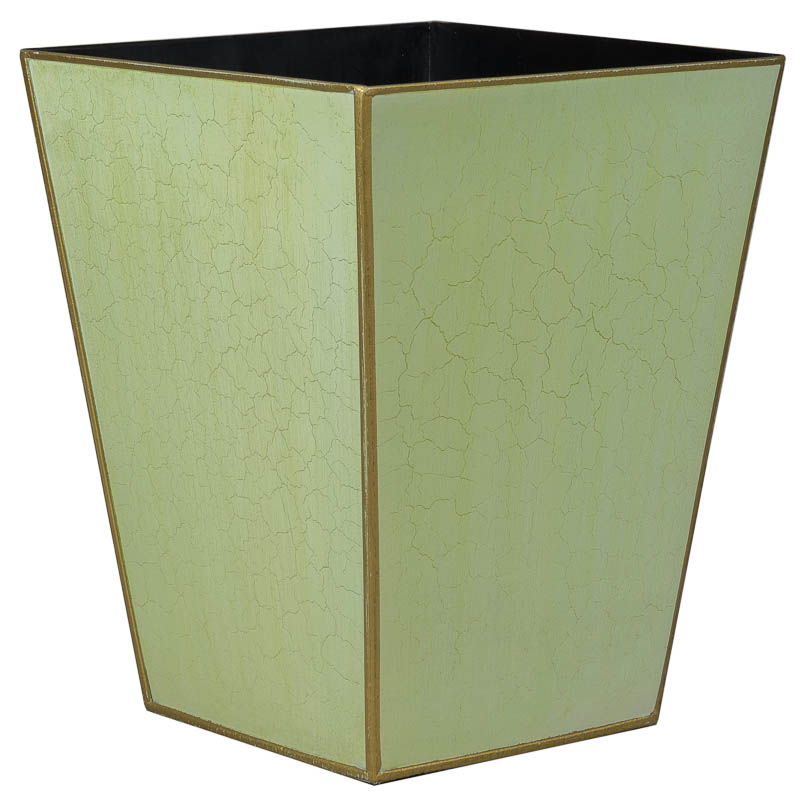 Plain Tapered Green Gold Waste Paper Bin Basket