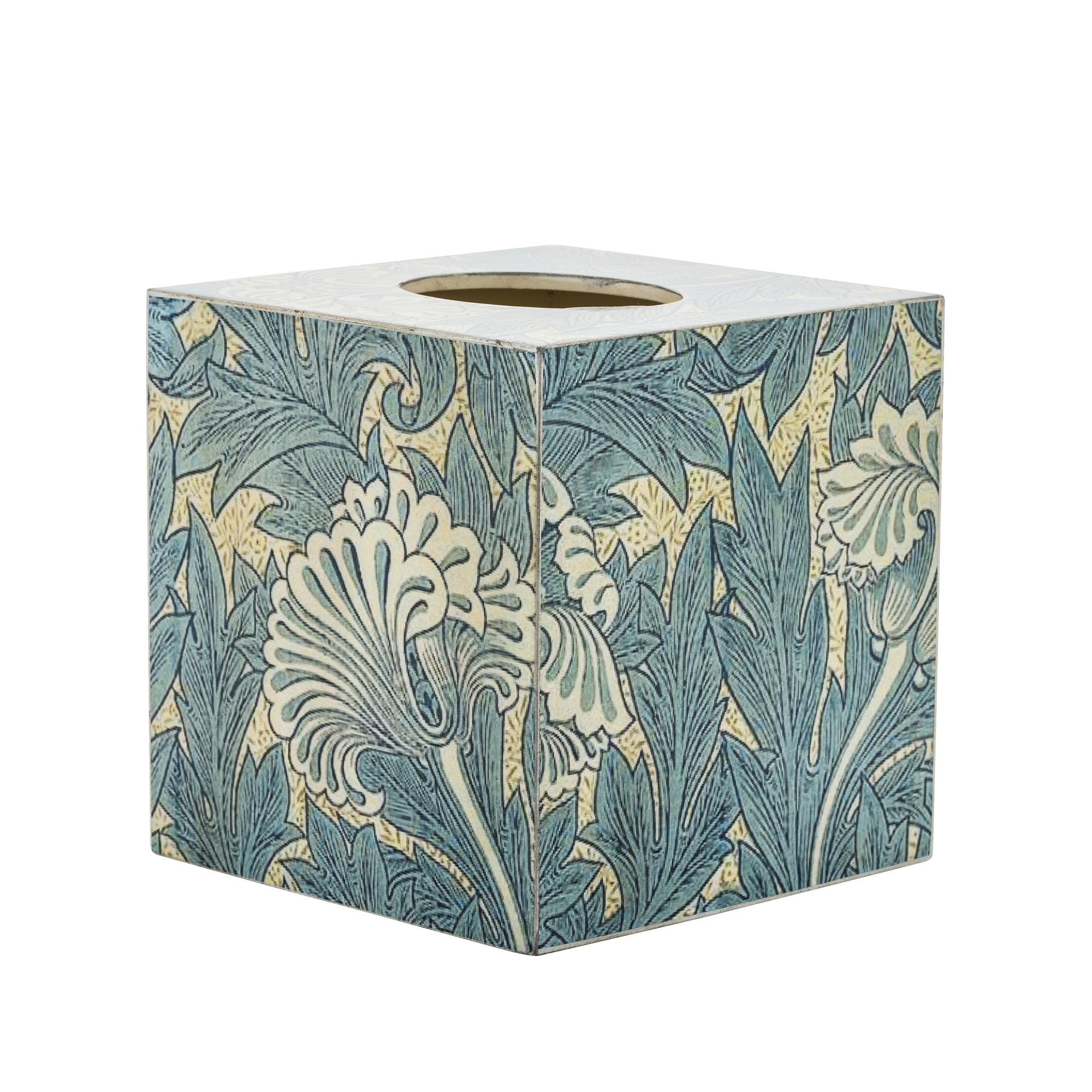 Cube Tissue Cover Box Wood Vintage Blue