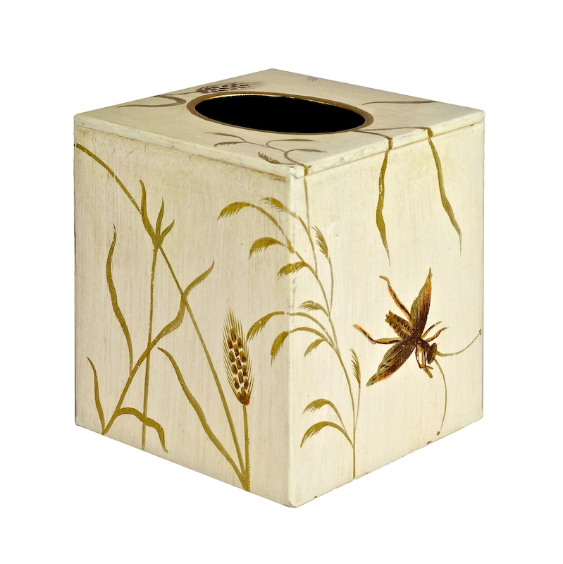 Painted Metal Square Cube Tissue Cover Dragonfly in Ivory
