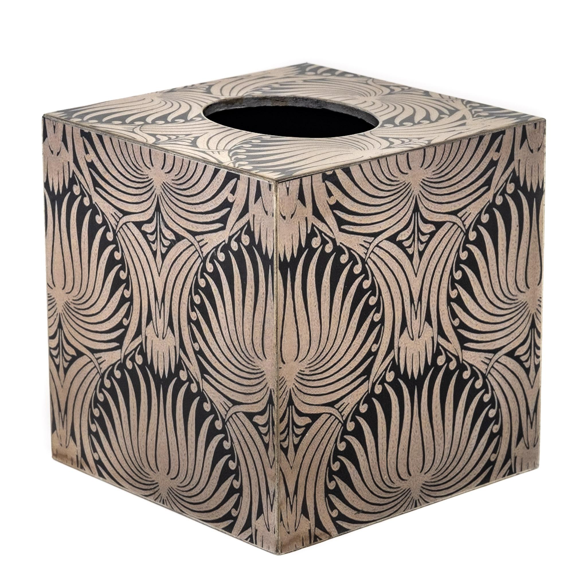 Square Tissue Box Cover Wood Vintage Morris Design