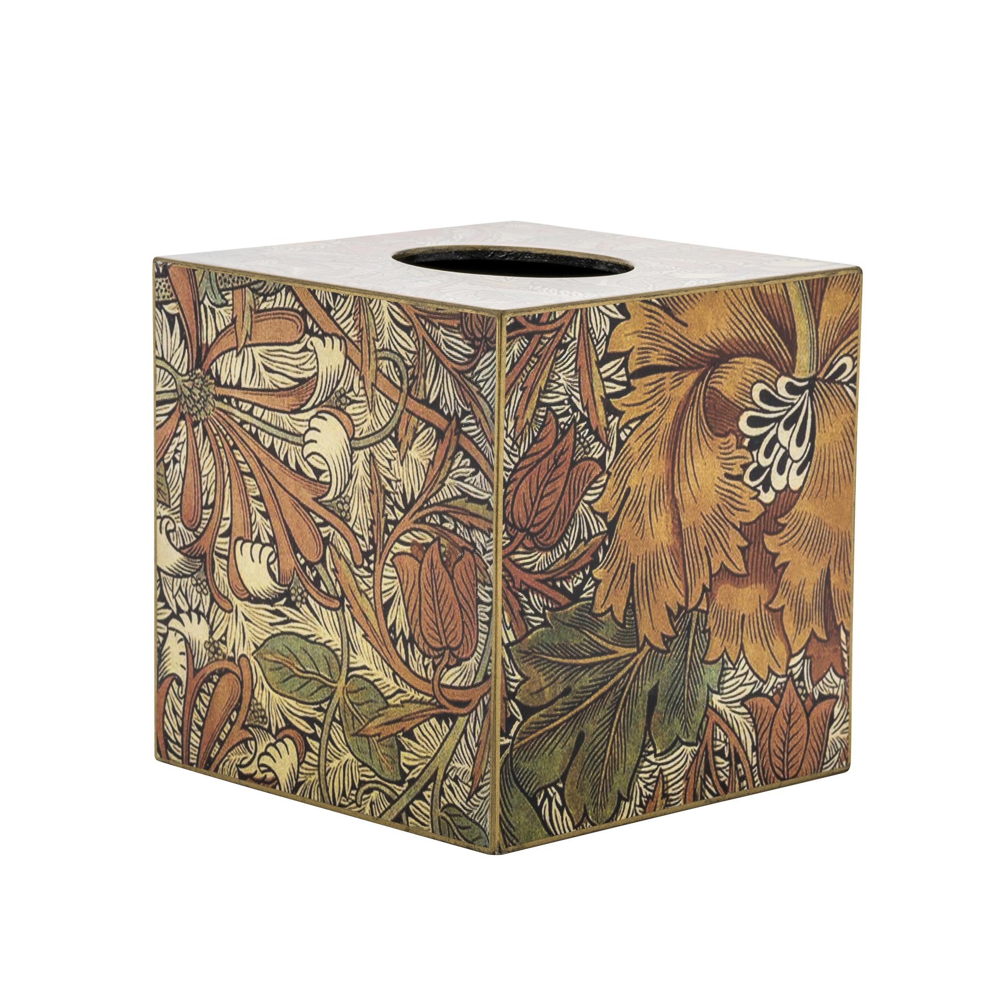 Square Tissue Box Vintage Leaf Design Wood