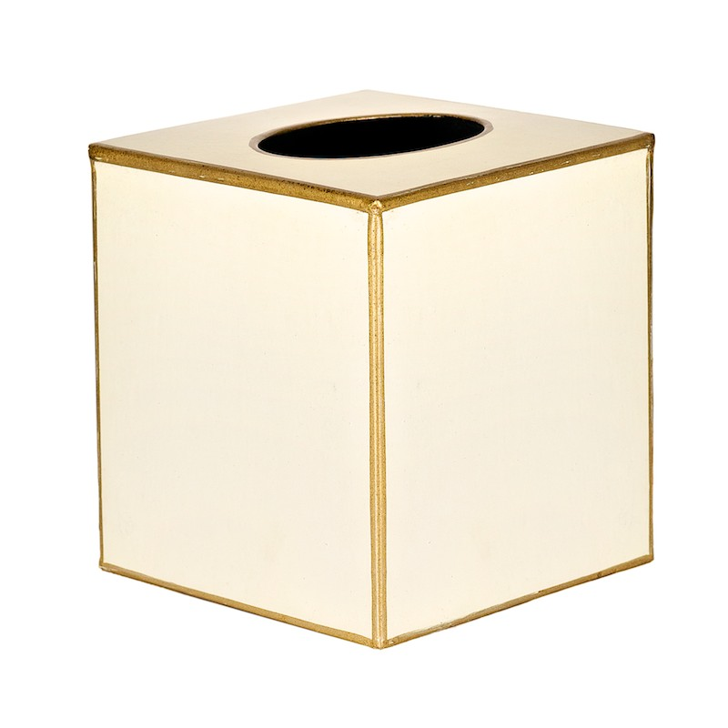 Square Tissue Box Cover Holder Ivory and Gold