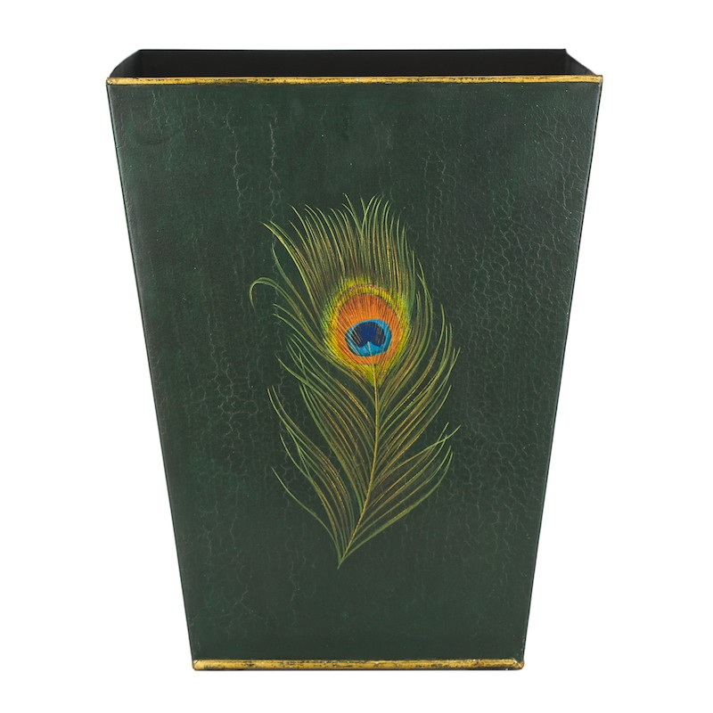 Traditional Waste Paper Bin Peacock Painted