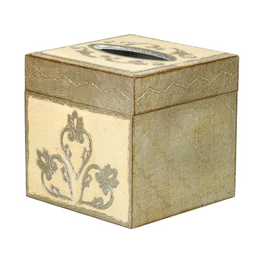 Silver and Ivory Florentine Square Tissue Box Cover