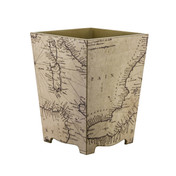Map Decoupage (wooden) Waste Paper Bin - side view