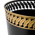 Black Waste Paper Bin with Gold Feather Trim - close up