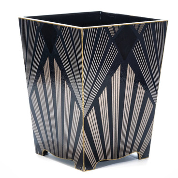 Gatsby Waste Paper Bin with Gold Trim- side