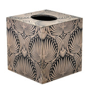 Silver Palm Cube Tissue Box