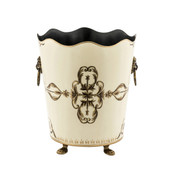 Rococo Ivory Waste Paper Bin - front view