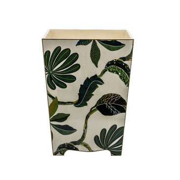 Wooden Autumn Waste Paper Bin (front view)
