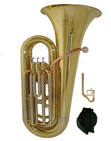 Bb Key 3 Valve Gold Lacquer Tuba with Case