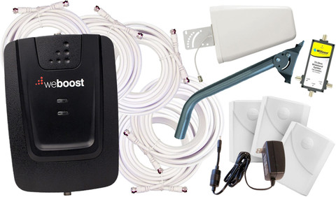 weBoost Connect 3G 472205 Yagi Antenna Booster Kit with Expansion Bundle Includes:  470005 Connect 3G Dual-Band Amplifier/ Repeater 65 decibels 950630 30 feet white low loss 75 Ohms RG6 coaxial cables (Quantity 5) 859912 AC/DC power supply 6V/2.5A 311155 Three Wall Panel Antennae (Indoor Install) 314475 Wide Band Directional Antenna (Outdoor Install) 859994 Three Way 75 Ohm 700-2500 Mhz Splitter FREE CPSB J-PIPE-POLE Installation manuals or instructions