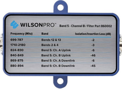 Filter to Block Band 5 Channel B with 75 Ohm F-Connector Part # Wilson Pro 860002. Filter Blocks Band 5's Channel B with F-Connector for 75 Ohm WilsonPro 70 Signal Booster Part #'s 463134 & 460127 (Filter part # Wilson Pro 860002).