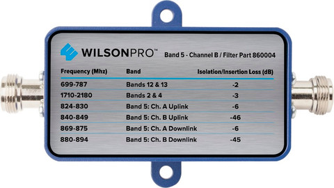 Filter to Block Band 5's Channel B with N-Connector for 50 Ohm WilsonPro 70 Signal Booster Part #'s 465134, 463127, 462127 (Filter part # Wilson Pro 860004)