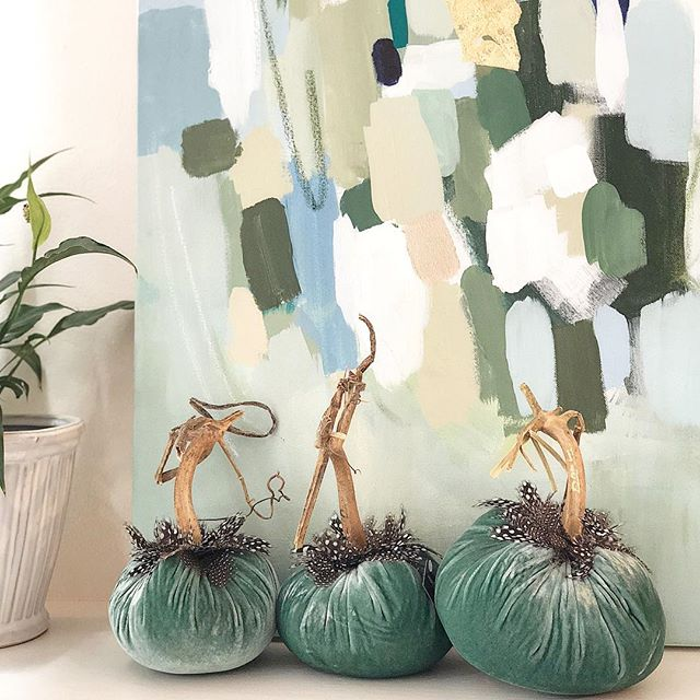 Velvet Pumpkins with Feathers
