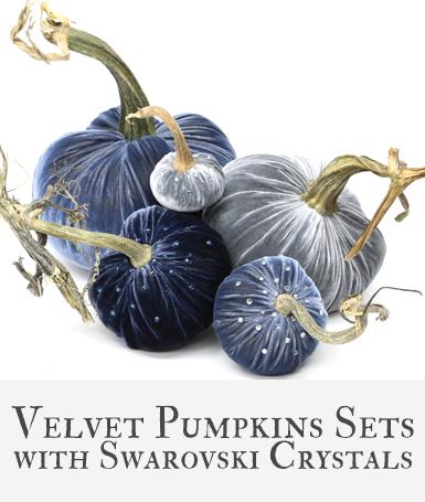 Hot Skwash Velvet Pumpkin Sets with Crystals