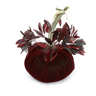 Pomegranate Velvet Pumpkin with Red Striped Feathers
