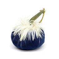 Sapphire  Velvet Pumpkin with White Ginger Saddle Feathers