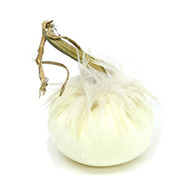 Ivory  Velvet Pumpkin with White Ginger Saddle Feathers