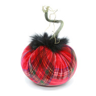 Tartan Plaid Velvet Pumpkin with Black Marabou Feathers