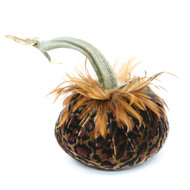 Leopard Velvet Pumpkin with Red Saddle Feathers