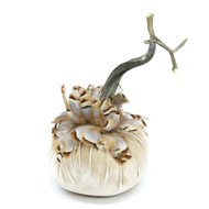 "6"" Bone Velvet Pumpkin with Partridge Feathers"