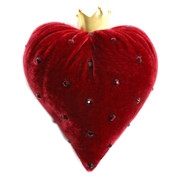 Cherry Velvet Heart with Swarovski Crystals