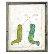 Happy Birds Print with Wood Frame