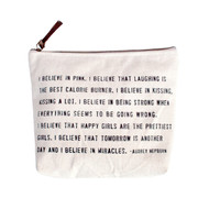 Audrey Hepburn I believe in Pink Canvas Bag