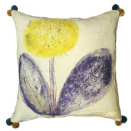 Sunny Flower Pillow with Poms