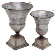 Galvanized Metal Urn Set