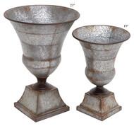 Galvanized Metal Urn Set