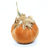 "Jumbo (11"") Velvet Pumpkin with Feathers"