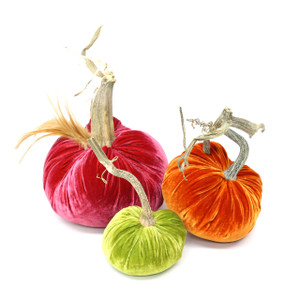 """Includes a 6"""" Guava with a Red Feather Plume, 5"""" Persimmon and 4"""" Chartreuse velvet pumpkin."""