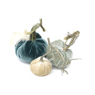 "The Coastal Pumpkin Trio with Feathers includes a 6"" Wedgewood velvet pumpkin with feather plume, 5"" Spa velvet pumpkin and 4"" Bone velvet pumpkin."